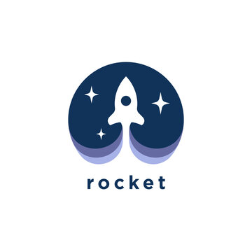 Rocket launch logo. Spaceship icon. Spacecraft symbol. Internet tech startup marketing idea sign. Vector illustration.