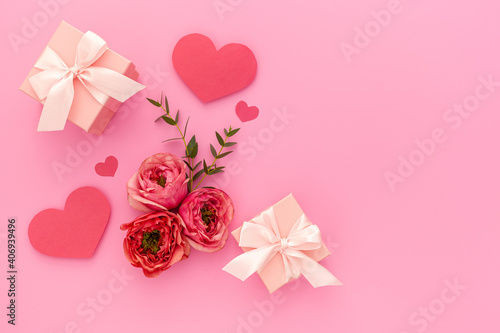 Valentine's day, birthday and holiday concept. Gift pink box with ribbon and rose, valentine's day, mother's day and birthday concept