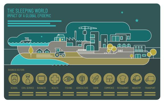 infographie sur impact et répercussions économiques suite à la pandémie mondiale du Covid-19
