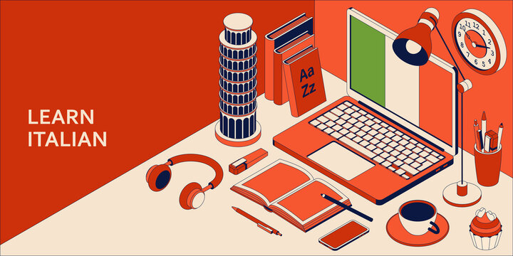 Learn Italian language isometric concept with open laptop, books, headphones, and coffee.