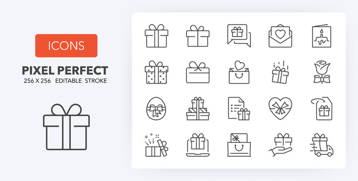 gifts line icons 256 x 256