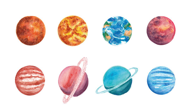 Hand drawn watercolor space set of planet