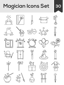 Black Line Art Illustration Of Magician Icon Set In Flat Style.