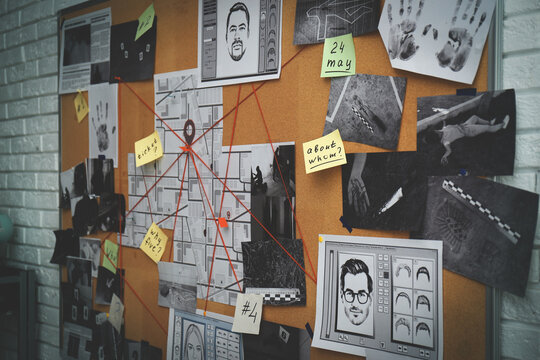 Detective board with stickers, photos, map and clues connected by red string on white brick wall