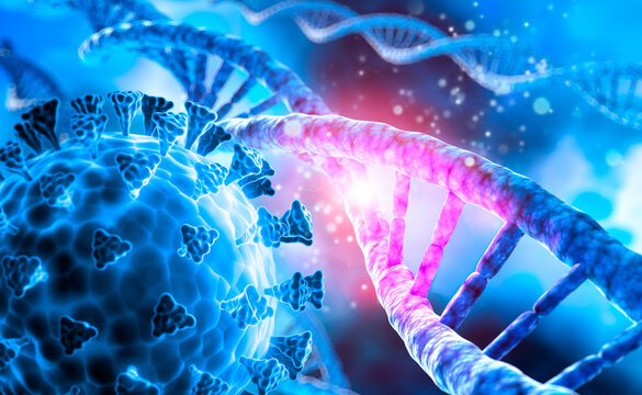 DNA helix with corona virus mutation - 3D visualization