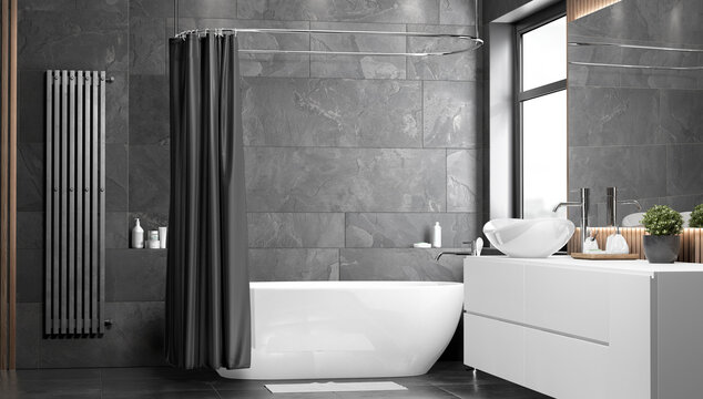 Blank black opened shower curtain mockup, front view