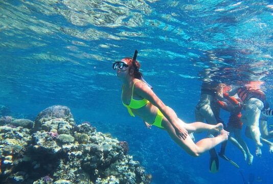 Underwater shot. Cute teenage girl diving with scuba in a tropical sea. Travel lifestyle, outdoor water sport adventure, swimming lessons on summer beach vacation