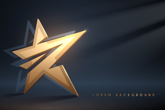 Golden star on dark background with light effect
