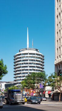 Capitol Records Tower, Hollywood Los Angeles, California US - October 9, 2017: iconic building situated north of the famed intersection of Hollywood and Vine designed by famous architect Welton Becket