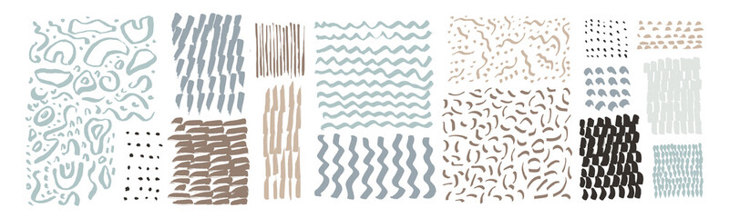 Fototapeta Vector hand drawn textures. Uneven natural hand-crafted lines, curved shapes, dots, daubs, smears, undulating waves, fluid shapes, patterns, organic details, brush strokes. Organic design elements