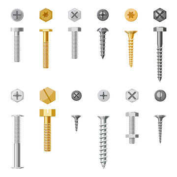 Set of isolated screw and nails. Vector bolt with different nut for drill. Engineering and building tool, construction repair. Hexahedron torx and rivet, mechanical hook fastener. Workshop assortment