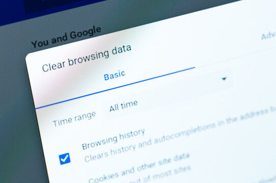 laptop with Google Chrome browser remove history, cookies, other browsing data. Google Chrome is a browser developed by Google. Moscow, Russia - January 12, 2021