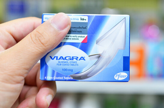 BANGKOK ,THAILAND - FEB 4: Viagra new packaging in hand on February 4, 2019 in drugstore Bangkok. Viagra was originally developed by Pfizer as an erectile dysfunction drug