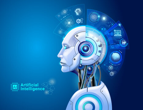Artificial intelligence digital technology concept. Robot with hologram brain and big data analytics.