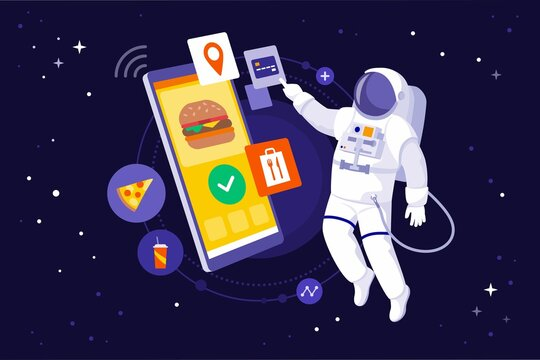 Astronaut ordering fast food in outer space