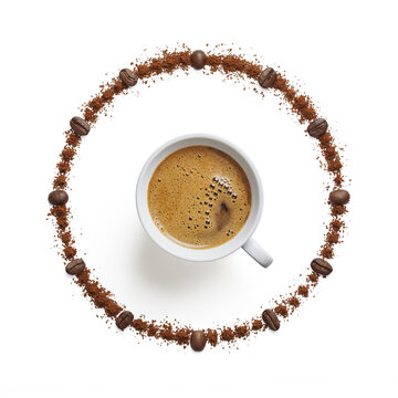Isolated coffee clock on white background