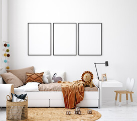 Mock up frame in white cozy children room interior background, Scandinavian style, 3D render