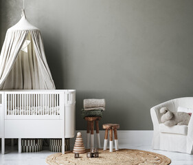 Cozy nursery interior background, Scandinavian style, 3D render