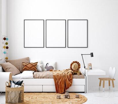 Mock up frame in white cozy children room interior background, Scandinavian style, 3D render