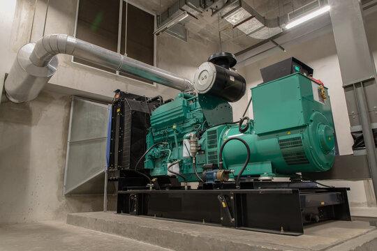 Generator Room Emergency power supply. Powered by Diesel power. Selective focus.