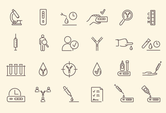 Simple set of black and white outline antibody test icons. Microscope, test tubes, blood test, medical laboratory tests, waiting time and other symbols. Vector illustration.