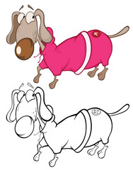 Vector Illustration of a Cute Cartoon Character dachshund in a coat. for you Design and Computer Game. Coloring Book