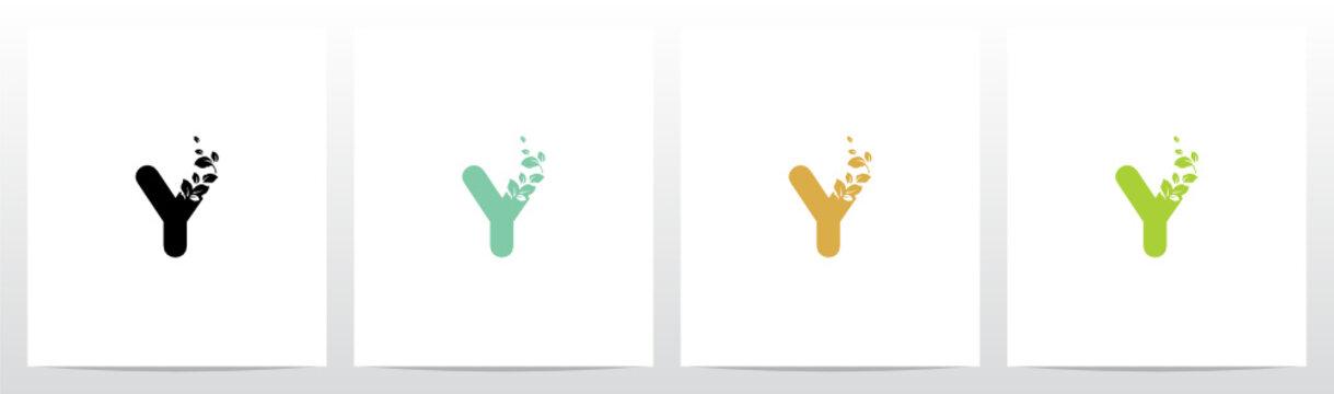 Letter Eroded Into Leaf Letter Logo Design Y