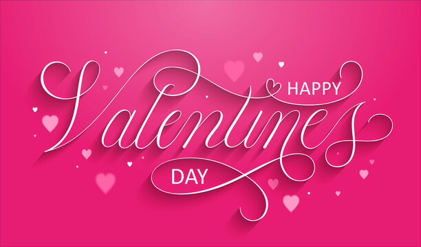 HAPPY VALENTINE'S DAY white copperplate calligraphy banner on pink background with hearts