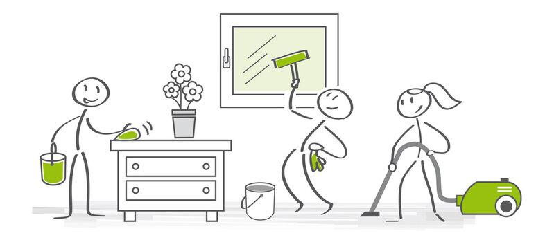 Frühjahrsputz - Team reinigt Zimmer