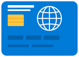 Wall Mural - Credit card for international payment and financial operations isolated on white background. Debit card to pay at distance vector illustration. Subject to pay for international and domestic purchases