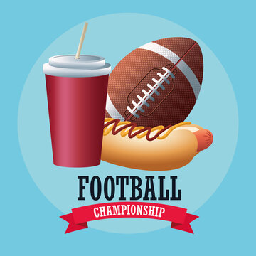 super bowl american football sport lettering with ball and fast food