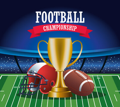 super bowl american football sport lettering with trophy and equipment
