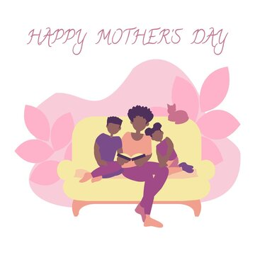 Happy african american family Mom reads book for son and daughter Mother's day card Flat vector illustration