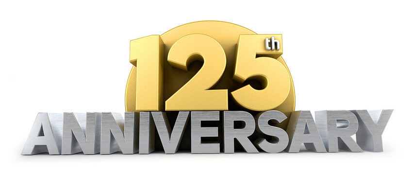 125th anniversary celebration logo in golden and silver color isolated on white background. 125 years anniversary logo. 3d illustration.