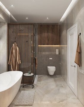 Master bathroom design ideas, 3D render