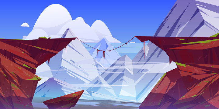 Mountain landscape with precipice in rocks and snow peaks on background. Vector cartoon illustration of abyss between cliffs. Dangerous rocky crack, chasm or canyon divides stone ledge