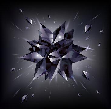 Black star on a black background. Crystal. Vector illustration.