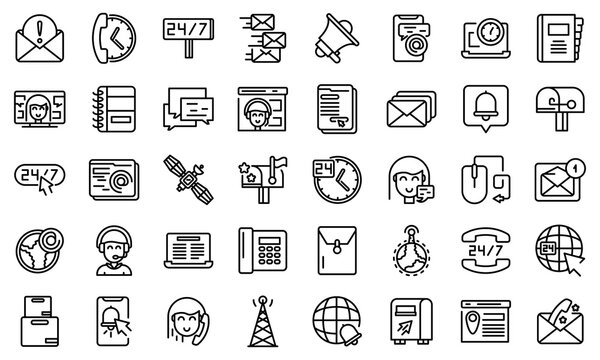 Contact us icons set. Outline set of contact us vector icons for web design isolated on white background