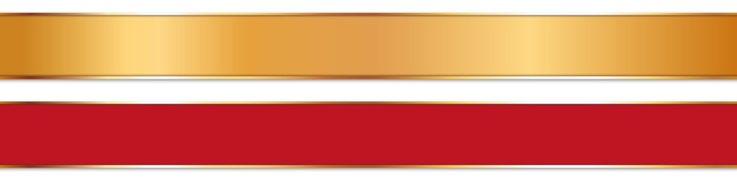 long gold and red ribbon banners with gold frame on white background