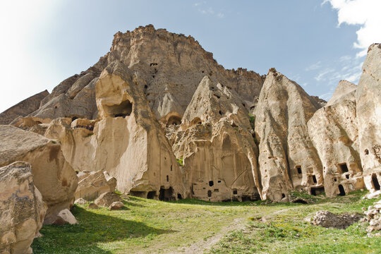 Landscape detail from outside of Selime monastery which is a huge church size of cathedral carved in a stone cave, near Ihlara valley at Cappadocia, Anatolia, Turkey