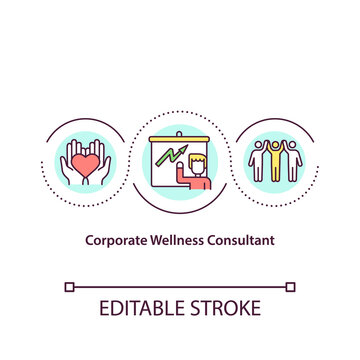 Corporate wellness consultant concept icon. Navigating wellness program development. Health promotions advisor idea thin line illustration. Vector isolated outline RGB color drawing. Editable stroke