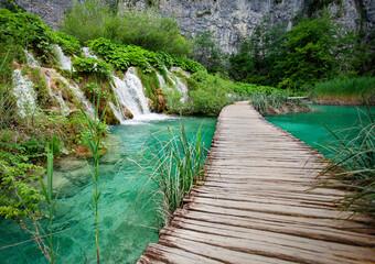 Wall Mural - Wooden walkways in Plitvice Lakes national park in Croatia