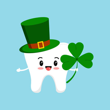 St Patrick tooth in leprechaun hat and shamrock in hand. Dental tooth irish character with three leaves clover, green cylinder hat. Flat design cartoon style dentist celebration vector illustration.
