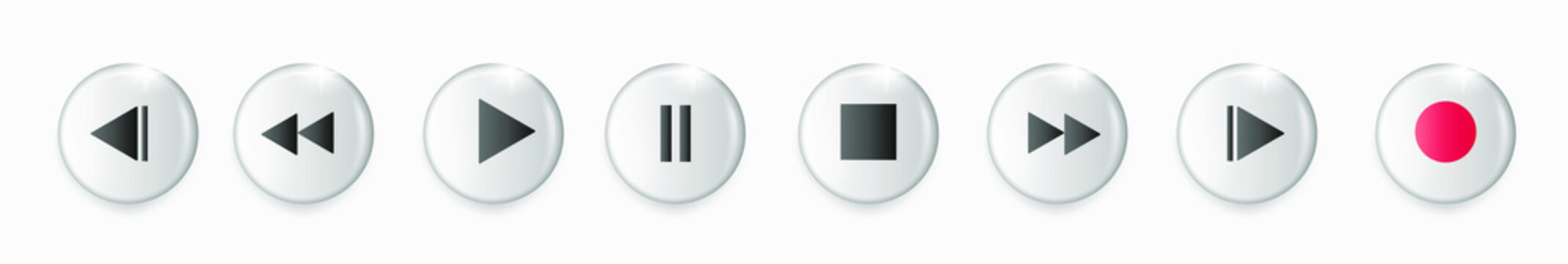 Set of volumetric media player button icons. Play and pause buttons, audio video player, player button icon, play and pause vector button. Vector illustration
