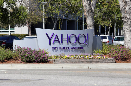 Sunnyvale, CA, USA - March 18, 2014: A sign in front of the Yahoo! Headquarters.