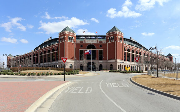 Arlington, TX - March 14: Globe Life Park in Arlington in Arlington, Texas on March 14, 2014. Formerly known as Rangers Ballpark in Arlington, the ballpark is the former home of The Texas Rangers.