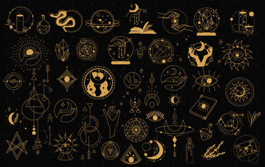 Obraz Witch Magic, Mystical and Astrology objects symbols. Doodle esoteric, boho mystical hand drawn elements. Magic and witchcraft, witch esoteric alchemy. Isolated Minimalistic objects.Vector illustration - fototapety do salonu