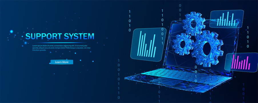 Technical support system. Remote access and control of a desktop computer or laptop via an Internet connection.  Software development. Abstract vector in futuristic polygonal style with wireframe.