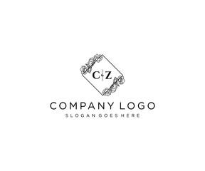 Fototapeta initial CZ letters Botanical feminine logo template floral. obraz