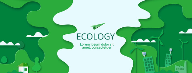 Paper art of Sustainability in green eco city, alternative, renewable  energy and ecology conservation concept.